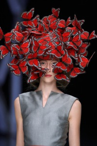 2. Butterfly headdress of hand-painted turkey feathers, Philip Treacy for Alexander McQueen, La Dame Bleu, Spring Summer 2008, copyright Anthea Sims
